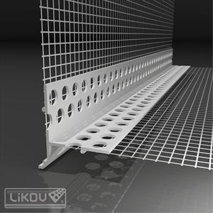 PVC nulašėjimo kampas su tinkleliu 2.5m.